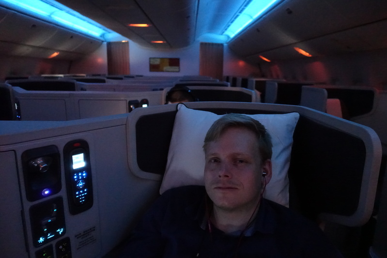 Helmut Roewer during flight CX382 from Zurich to Hong Kong